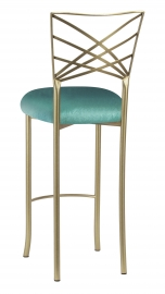 Gold Fanfare Barstool with Turquoise Velvet Cushion