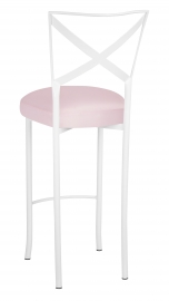 Simply X White Barstool with Soft Pink Satin Boxed Cushion