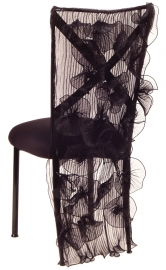 Ruffles with Lilybelle Chair Cover and Black Stretch Knit Cushion on Black Legs