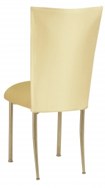 Lemon Ice Dupioni Chair Cover with Gold Knit Cushion on Gold Legs