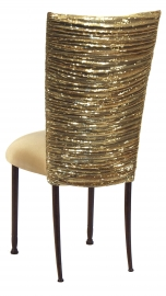 Gold Bedazzled Chair Cover with Gold Stretch Knit Cushion on Mahogany Legs