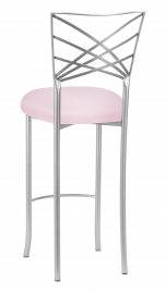 Silver Fanfare Barstool with Soft Pink Knit Cushion