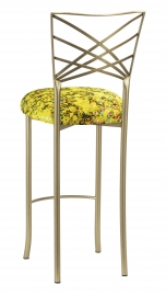 Gold Fanfare Barstool with Yellow Paint Splatter Knit Cushion