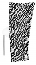 Black and White Zebra Jacket with White Suede Cushion on Silver Legs