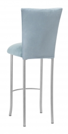 Ice Blue Suede Barstool Cover and Cushion on Silver Legs