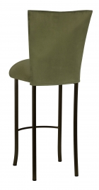 Sage Suede Barstool Cover and Cushion on Brown Legs