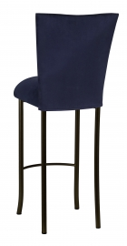 Navy Blue Suede Barstool Cover and Cushion on Brown Legs