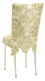 Ravena Chenille Empire Cut Chair Cover with Boxed Cushion on Ivory Legs