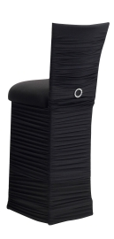 Chloe Black Stretch Knit Barstool Cover with Jewel Band, Cushion and Skirt