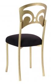 Gold Fleur de Lis with Black Suede Cushion