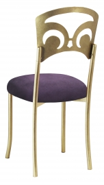 Gold Fleur de Lis with Lilac Suede Cushion