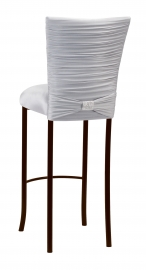 Chloe Silver Stretch Knit Barstool Cover with Rhinestone Accent Band and Cushion on Brown Legs