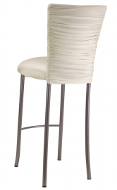 Chloe Ivory Stretch Knit Barstool Cover and Cushion on Silver Legs
