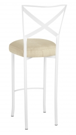 Simply X White Barstool with Parchment Linette Boxed Cushion