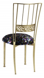 Gold Bella Fleur with Black Paint Splatter Knit Cushion