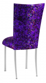 Purple Paint Splatter Chair Cover and Cushion on Silver Legs