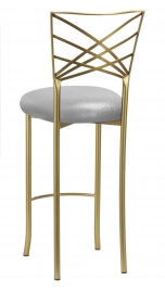 Gold Fanfare Barstool with Metallic Silver Knit Cushion