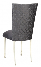 Charcoal Diamond Tufted Taffeta Chair Cover with Charcoal Suede Cushion on Ivory Legs