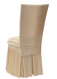 Champagne Dupioni with Champagne Bengaline Cushion and Champagne Chiffon Skirt