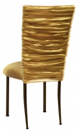 Gold Demure Chair Cover with Gold Stretch Knit Cushion on Brown Legs