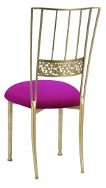 Gold Bella Fleur with Magenta Stretch Knit Cushion
