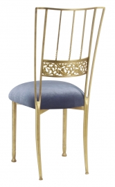 Gold Bella Fleur with Steel Velvet Cushion