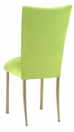 Lime Green Velvet Chair Cover and Cushion on Gold Legs