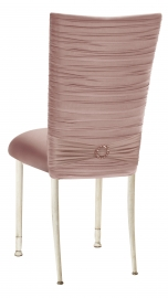 Chloe Blush Stretch Knit Chair Cover with Jewel Band and Cushion on Ivory Legs