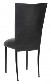 Black Leatherette Chair Cover and Cushion on Black Legs