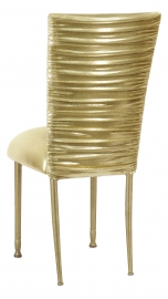 Chloe Metallic Gold Stretch Knit Chair Cover and Cushion on Gold Legs