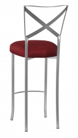 Simply X Barstool with Burnt Red Dupioni Boxed Cushion
