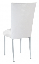 White Croc Chair Cover with White Stretch Knit Cushion on Silver Legs