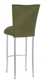 Sage Suede Barstool Cover and Cushion on Silver Legs