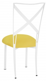 Simply X White with Bright Yellow Velvet Cushion
