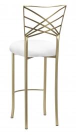 Gold Fanfare Barstool with White Knit Cushion
