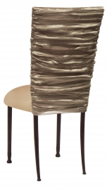 Beige Demure Chair Cover with Beige Stretch Knit Cushion on Mahogany Legs