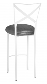 Simply X White Barstool with Gunmetal Knit Cushion