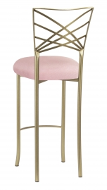Gold Fanfare Barstool with Pink Sparkle Velvet Cushion