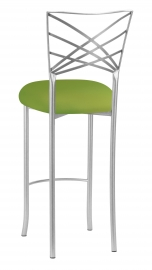 Silver Fanfare Barstool with Lime Stretch Knit Cushion