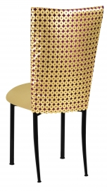 Dragon Eyes Chair Cover and Gold Knit Cushion on Black Legs