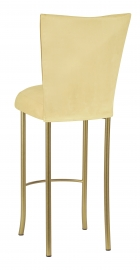 Buttercup Suede Barstool Cover and Cushion on Gold Legs