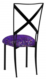 Blak. with Purple Paint Splatter Knit Cushion