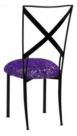 Blak. with Purple Paint Splatter Knit Cushion