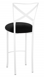 Simply X White Barstool with Black Velvet Cushion