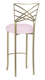 Gold Fanfare Barstool with Soft Pink Knit Cushion