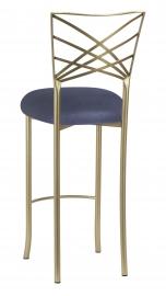 Gold Fanfare Barstool with Steel Velvet Cushion