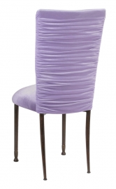 Chloe Lavender Velvet Chair Cover and Cushion on Mahogany Legs