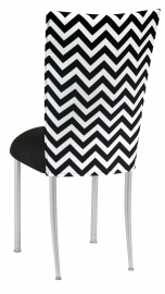 Chevron Chair Cover with Black Stretch Knit Cushion on Silver Legs