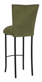 Sage Suede Barstool Cover and Cushion on Black Legs