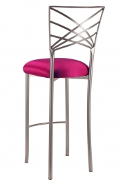 Silver Fanfare Barstool with Fuchsia Satin Cushion